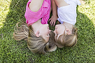 Two sisters lying in meadow - SHKF00778