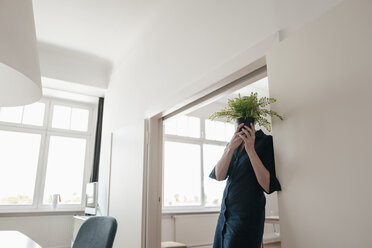 Businesswoman hiding behind plant in office - KNSF01852