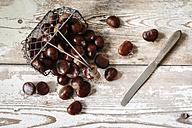 Sweet chestnuts in wire basket - EVGF03240