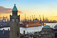 Germany, Hamburg, St. Pauli Landing Stages at sunset - RJF00706