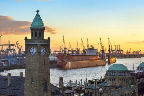 Germany, Hamburg, St. Pauli Landing Stages at sunset - RJF00706