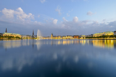 Germany, Hamburg, panoramic view of Inner Alster and Alster fountain in the evening - RJF00709