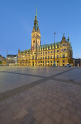 Germany, Hamburg, view to town hall in the evening - RJF00712
