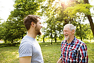 Senior father and his adult son laughing together in a park - HAPF01862