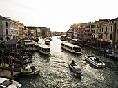 Italy, Venice, traffic on Canal Grande in the evining seen from Rialto Bridge - SBDF03250