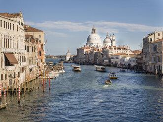 Italy, Venice, view to Canal Grande and Santa Maria della Salute church seen from Ponte dell'Accademia - SBDF03253