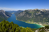 Austria, Tyrol, view to Achensee with Rofan and Pertisau in the background - LBF01626