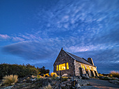 New Zealand, South Island, Canterbury Region, Church of the Good Shepherd at twilight - STSF01263