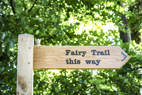 UK, Scotland, East Lothian, sign post to fairy trail - SMAF00789