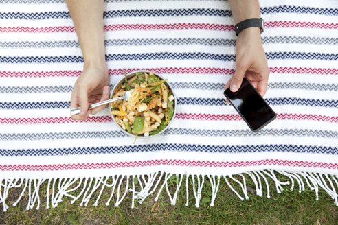Man eating noodle salad on blanket in a park while using cell phone, partial view - MFRF00920