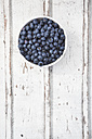 Bowl of blueberries on white wood - LVF06246