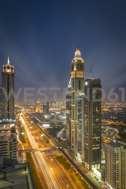 United Arab Emirates, Dubai, aerial overview of Sheikh Zayed Road with high rises of Financial centre district and Emirates Towers Metro Station - NKF00484