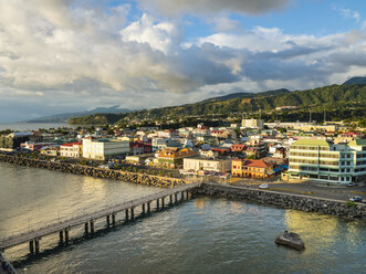Caribbean, Antilles, Dominica, Roseau, View of the city at dusk - AMF05413