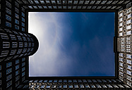 Germany, Hamburg, view to facades at yard of Sprinkenhof at Kontorhaus Quarter from below - MPA00112