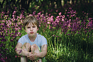 Portrait of little boy sitting on meadow in the garden pouting mouth - MJF02126