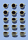 Yellow coffee cups on light blue ground, 3D Rendering - DRBF00007