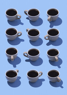 Coffee cups on light blue ground, 3D Rendering - DRBF00010
