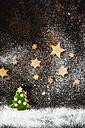 Christmas Cookies and icing sugar on baking tray - SBDF03273