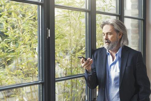 Senior businessman standing by window, using smartphone - SBOF00564