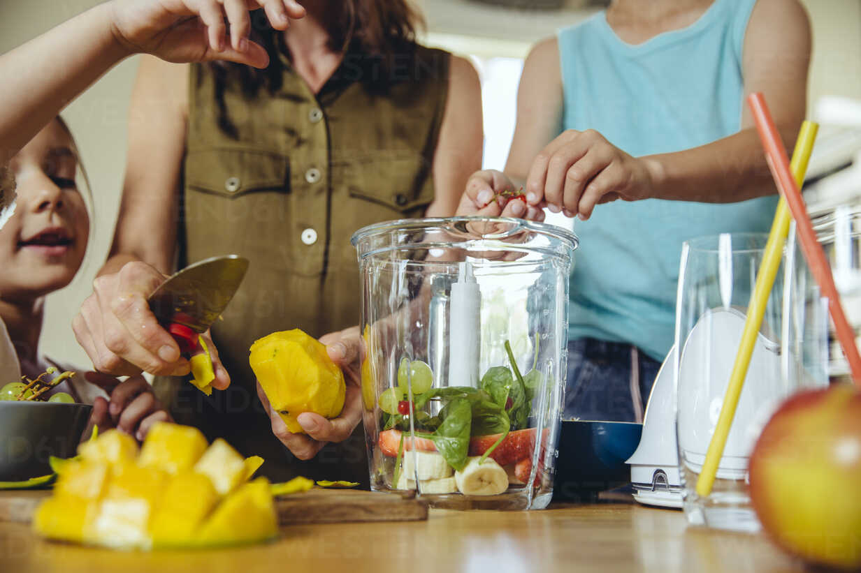 Mother and children putting fruit into a smoothie blender - MFF03752 - Mareen Fischinger/Westend61