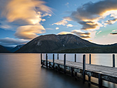 New Zealand, South Island, Saint Arnaud, sunset at Lake Rotoiti - STSF01296