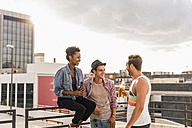 Three friends socializing on a rooftop party - UUF11473