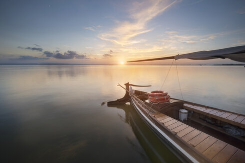 Spain, Valencia, Boat on a tranquil lake in La Albufera Natural Park - DHCF00144