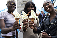 Three friends with soft ice cream - IGGF00113
