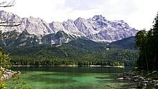 Germany, Bavaria, Eibsee lake with Zugspitze - MAEF12392