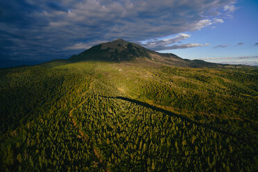 USA, Early morning aerial photograph of Spanish Peaks National Natural Landmark in Southern Colorado - BCDF00333