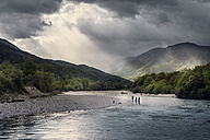 Slovenia, men fly fishing in Soca river - BMA00313