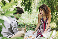 Happy couple having a picnic in a park - ALBF00172