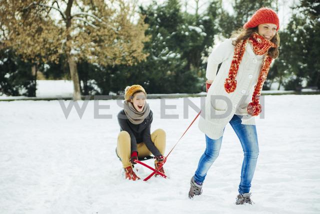 Two friends having fun in the snow - ZEDF00821