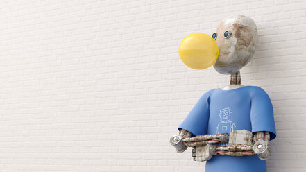 Robot making chewing gum bubble, 3d rendering - AHUF00420