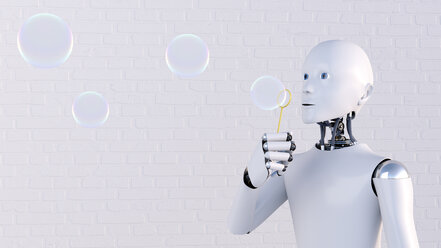 Robot blowing soap bubbles, 3d rendering - AHUF00423