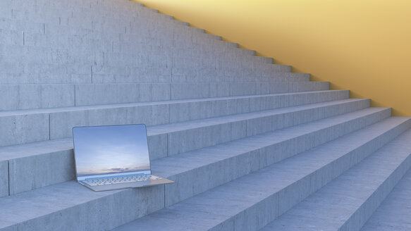 Laptop on stairs, 3d rendering - AHUF00426