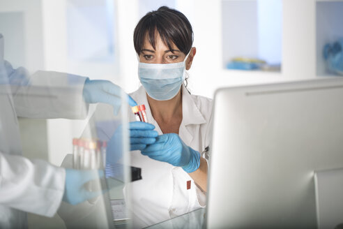 Woman receiving test tubes with liquid in laboratory - ZEF14496