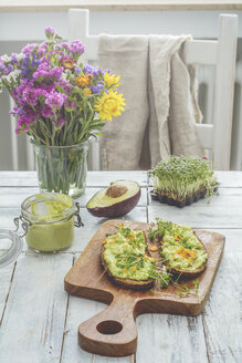 two slices of bread with avocado cream and nachos - ODF01535