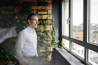 Businessman in green office looking out of window - JOSF01366