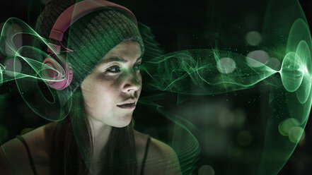 Portrait of young woman with headphones at night, 3D Rendering - UUF11623