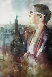 USA, New York City, woman looking at view from Rockefeller Center, composite - UUF11629