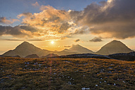 Italy, Abruzzo, Gran Sasso e Monti della Laga National Park, Portella Mountain at sunset - LOMF00613