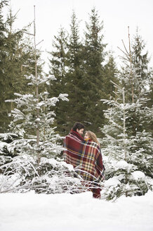 Happy young couple wrapped in blanket standing in winter forest - HAPF02049