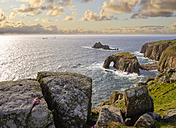 UK, England, Cornwall, Land's End, cliff coast with Enys Dodman Rock and Longships Lighthouse in background - SIEF07492