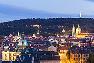 Czech Republic, Prague, cityscape with St. Nicholas' Church and Petrin observation tower - WDF04096
