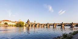 Czech Republic, Prague, Vltava and Old Town Bridge Tower on Charles Bridge - WDF04135