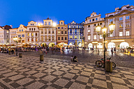 Czech Republic, Prague, restaurants and shops at Old Town Square at night - WDF04138