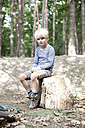Boy in forest sitting on tree stump - MFRF01024