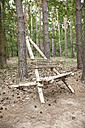 Self-made wooden chair in forest - MFRF01054