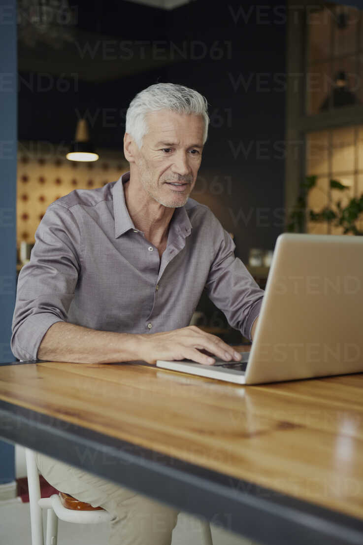Mature man using laptop on table at home - RBF05924 - Rainer Berg/Westend61
